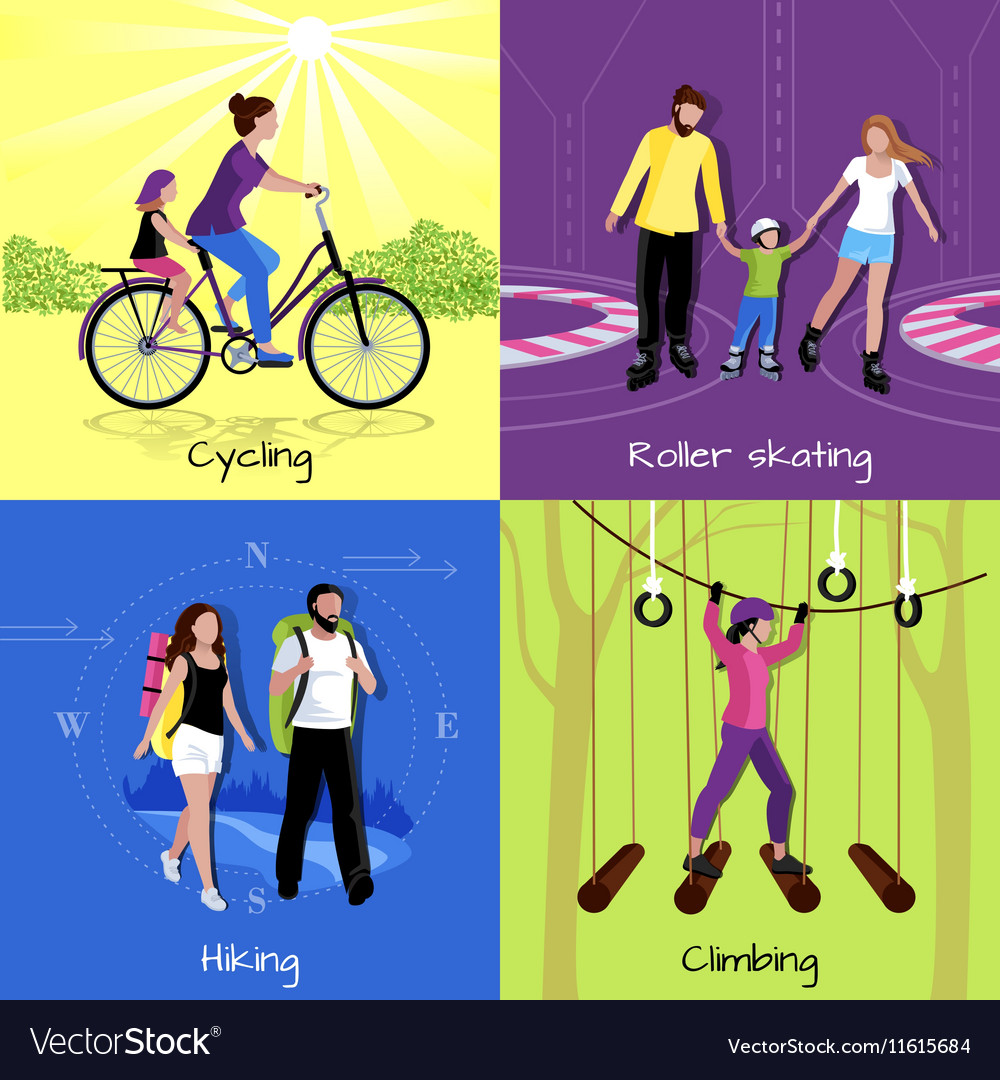 Active leisure concept vector