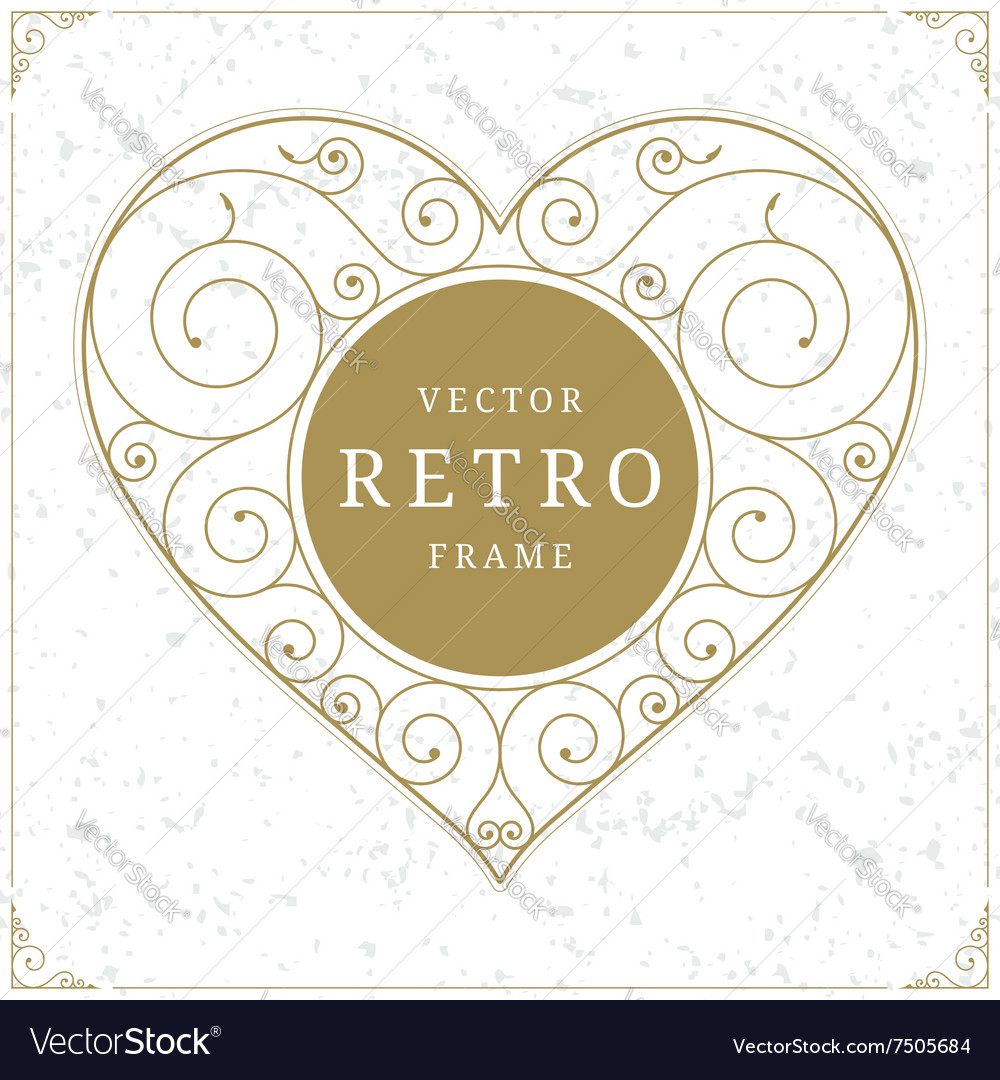 Heart luxury logo template in retro style vector