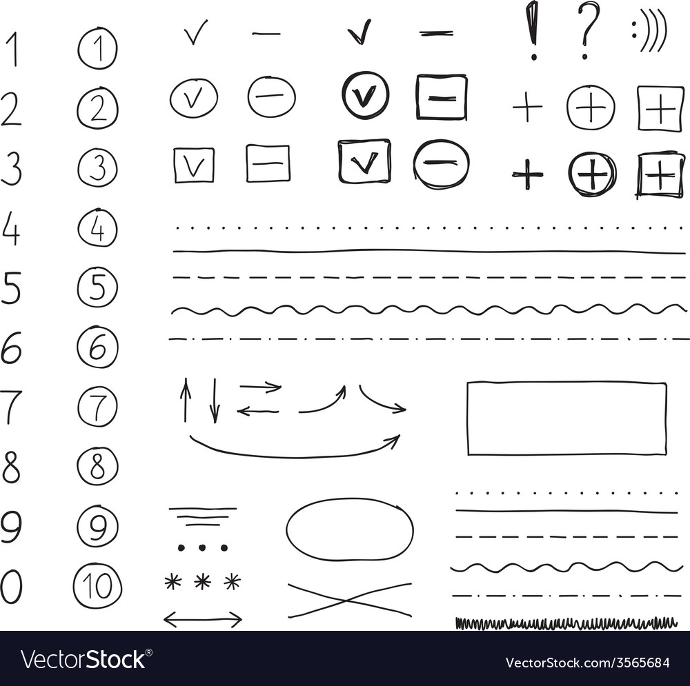Marker elements hand drawing vector