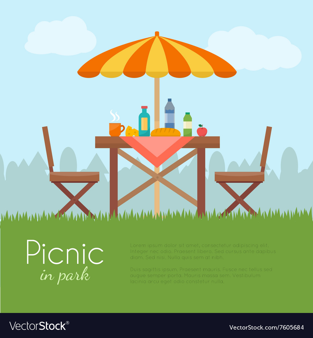 Outdoor picnic in park vector