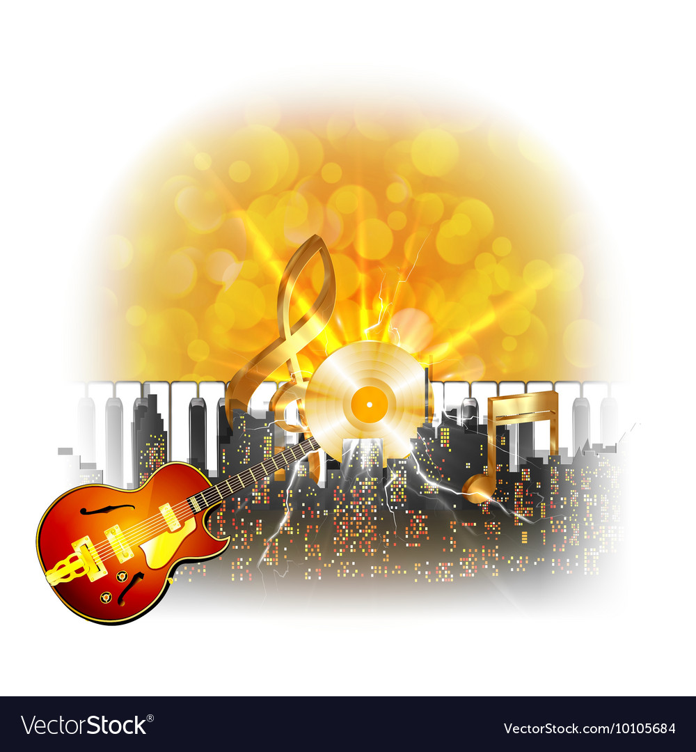 Urban landscape with a flash and guitar golden vector