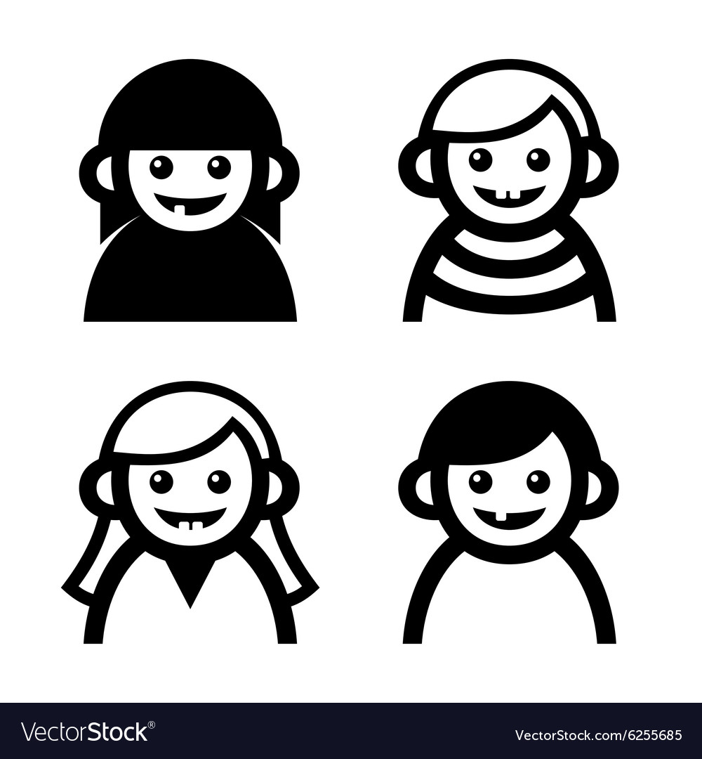 Baby and children faces icons set vector