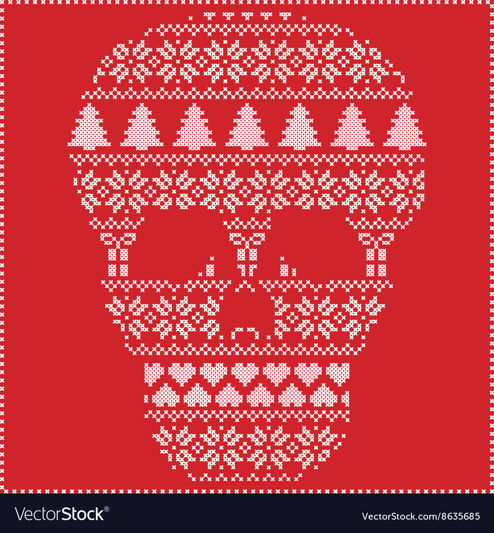 Winter pattern sugar skull on red background vector