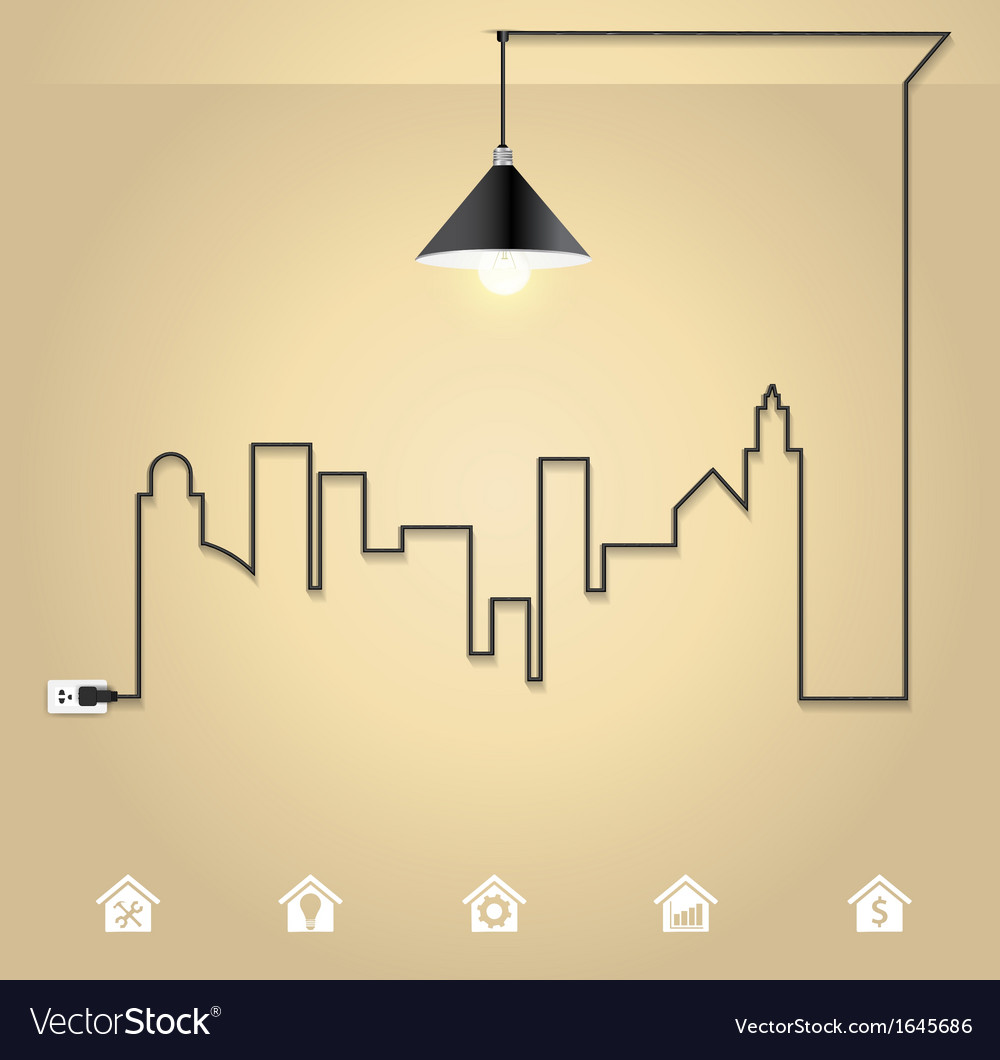 Cityscape with creative wire light bulb idea vector