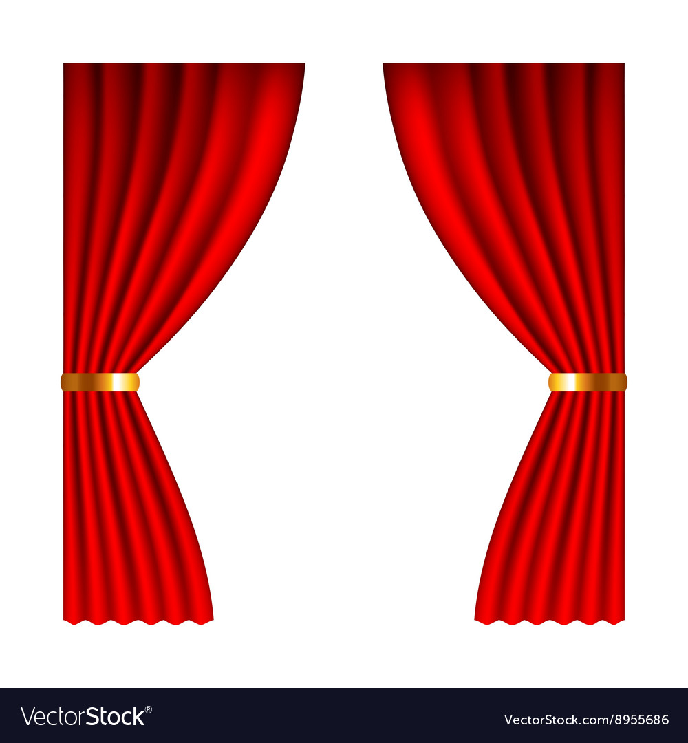Red window curtains isolated on white vector
