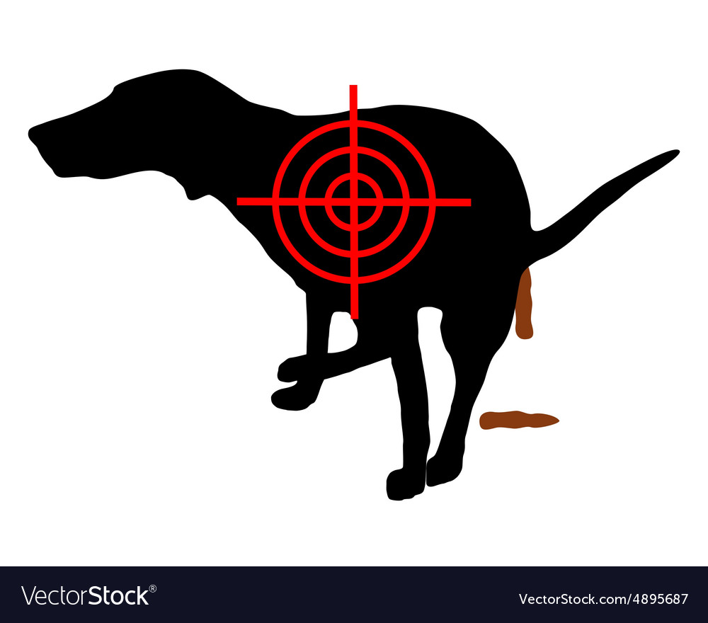 Aim at dog crapping vector