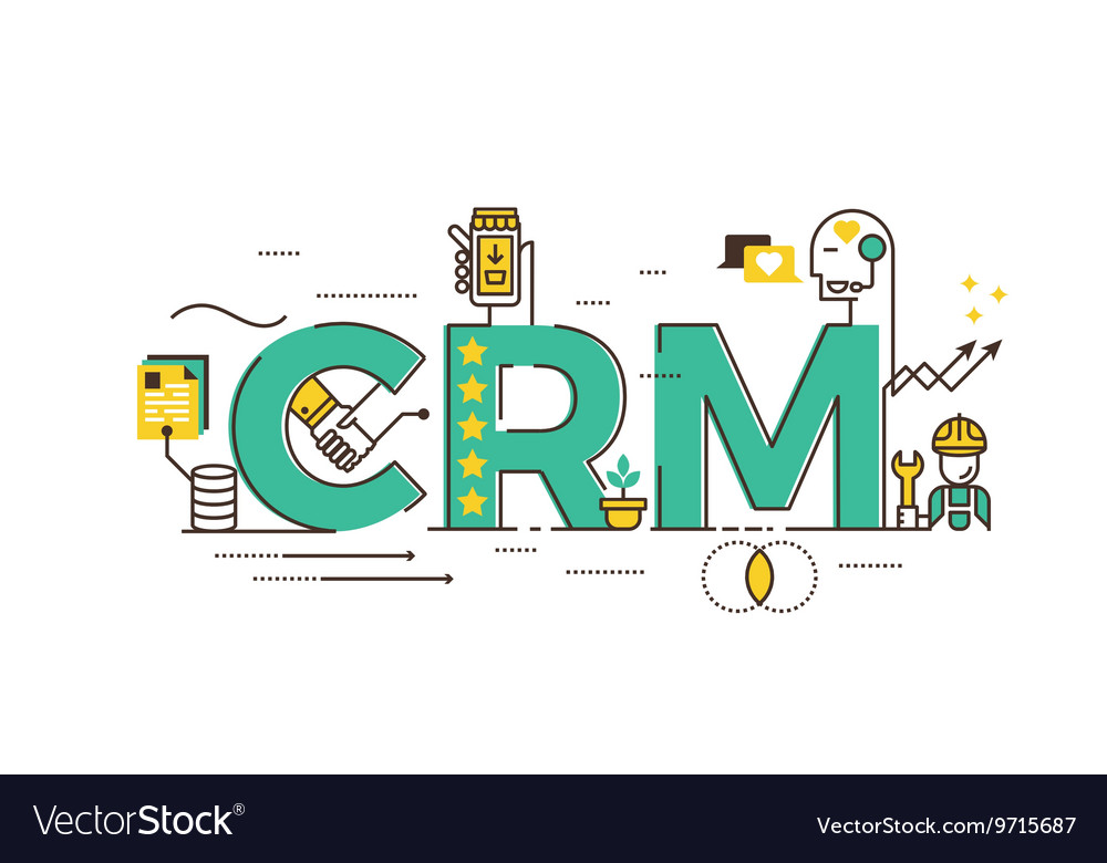 Crm customer relationship management vector
