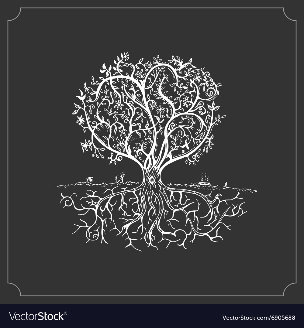 Hand drawn tree isolated sketch in vintage style vector