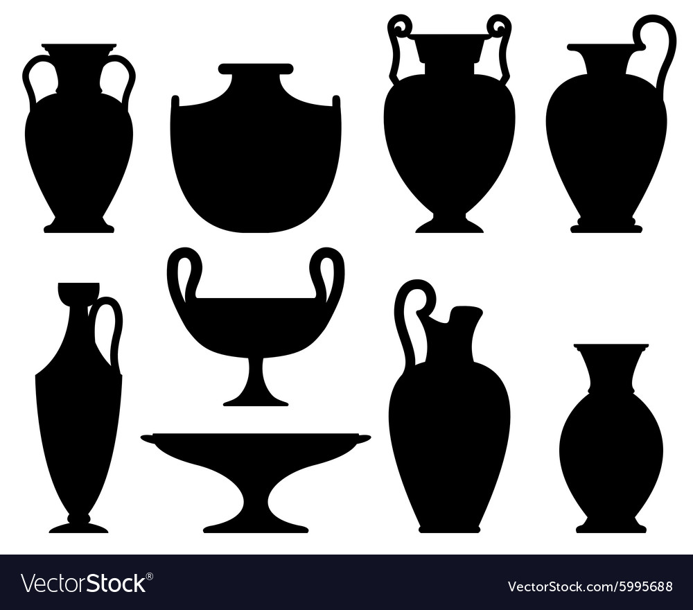 Silhouettes of ancient vases vector