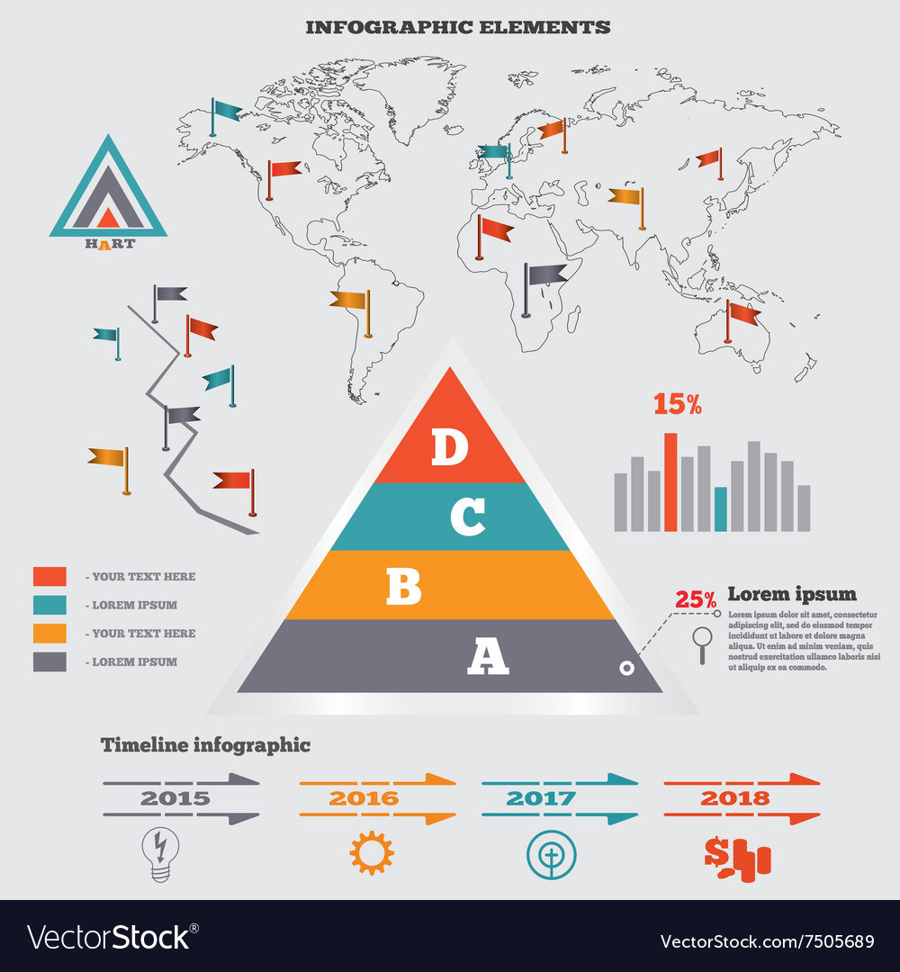 Infographics elements set pyramid chart graphics vector