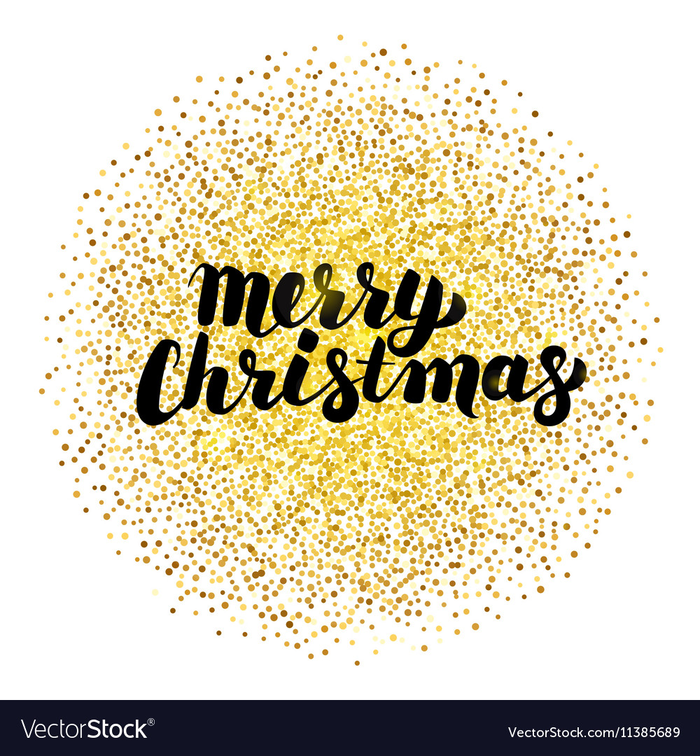 Merry christmas lettering over gold vector