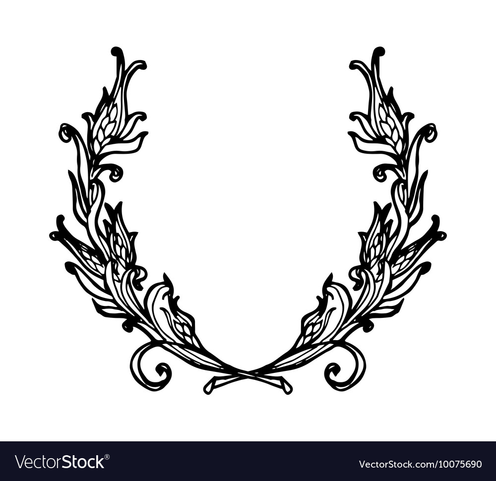 Floral wreath branches set decorative elements at vector