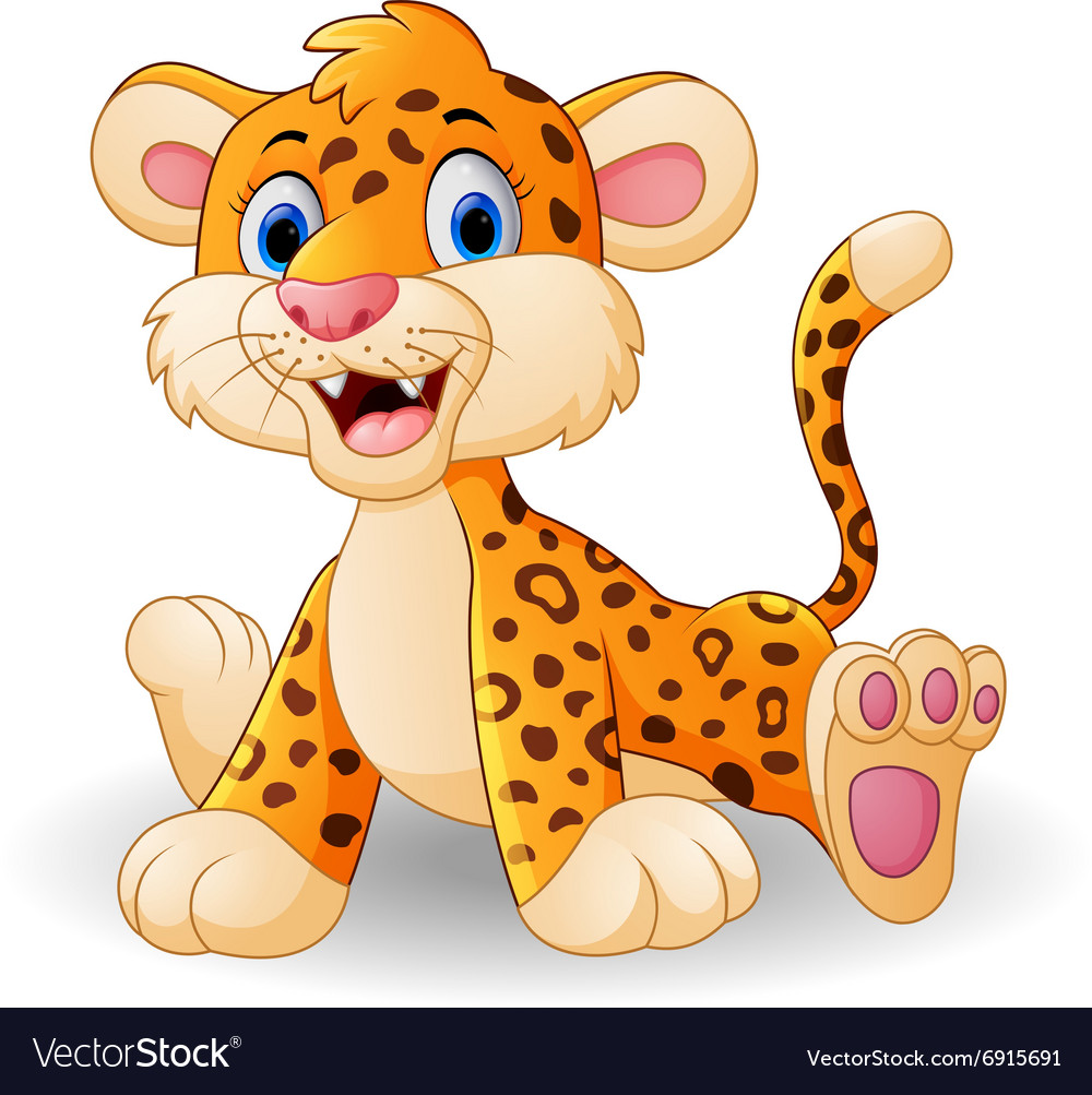 Cute baby leopard cartoon vector