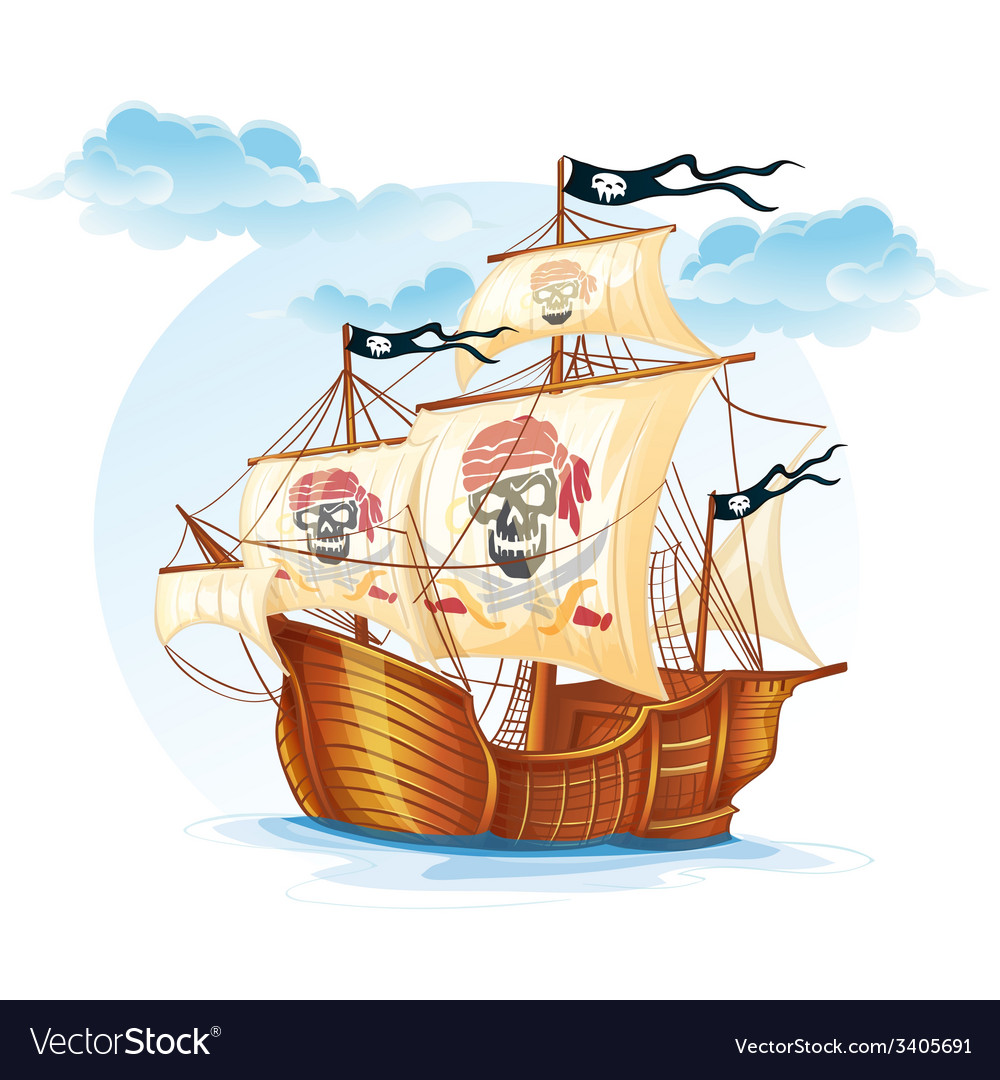 Image caravel ship pirates xv century vector