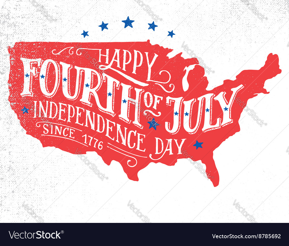Fourth of july handlettering card vector