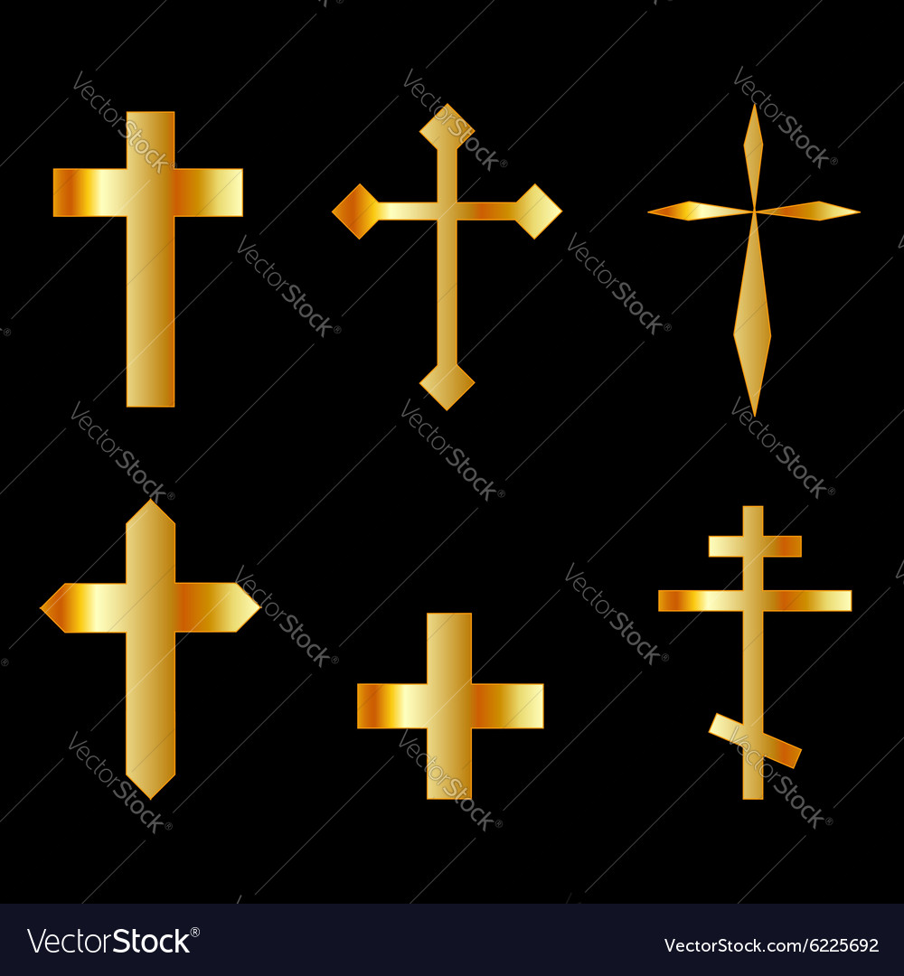 Golden christian crosses in different designs vector
