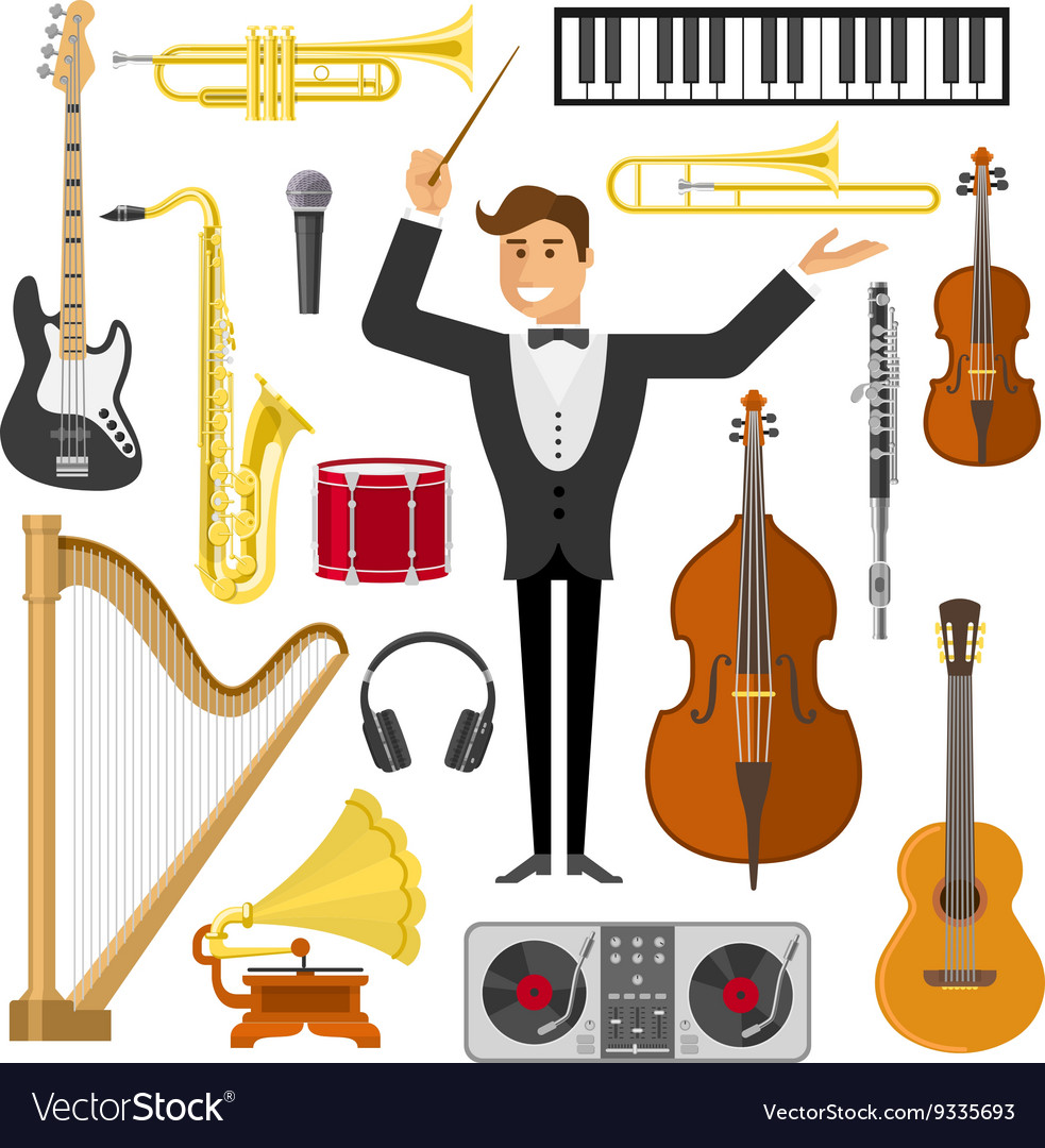 Flat music icon set vector