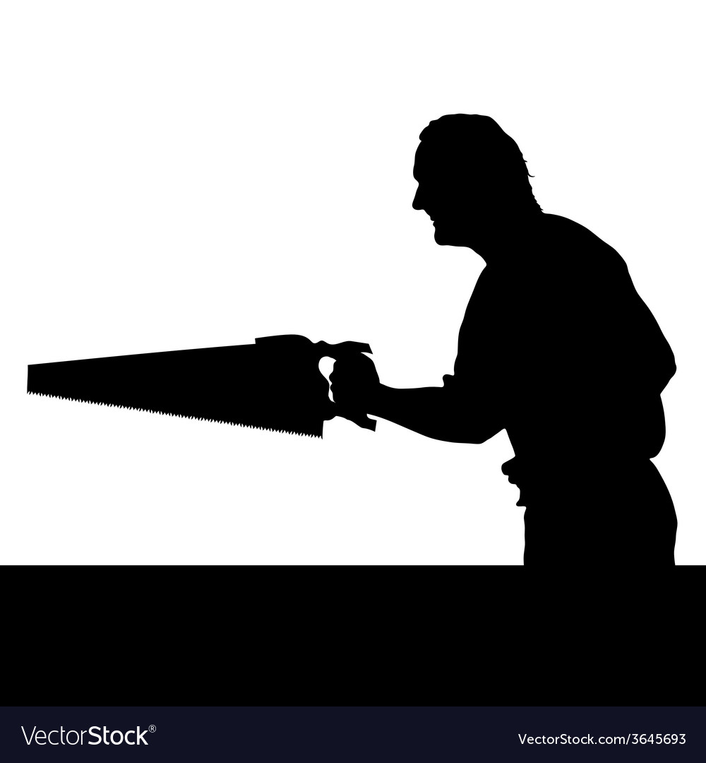 Man with chainsaw silhouette vector