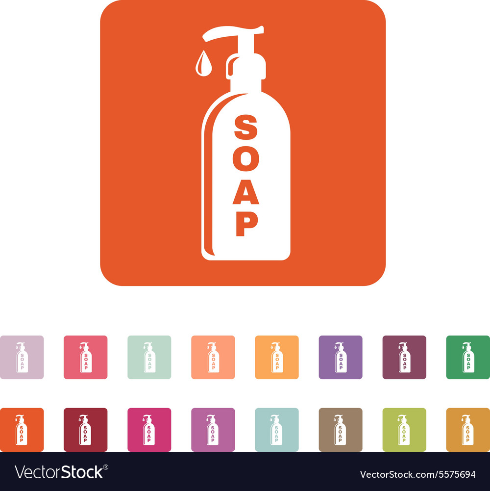 Liquid soap icon hand wash symbol flat vector