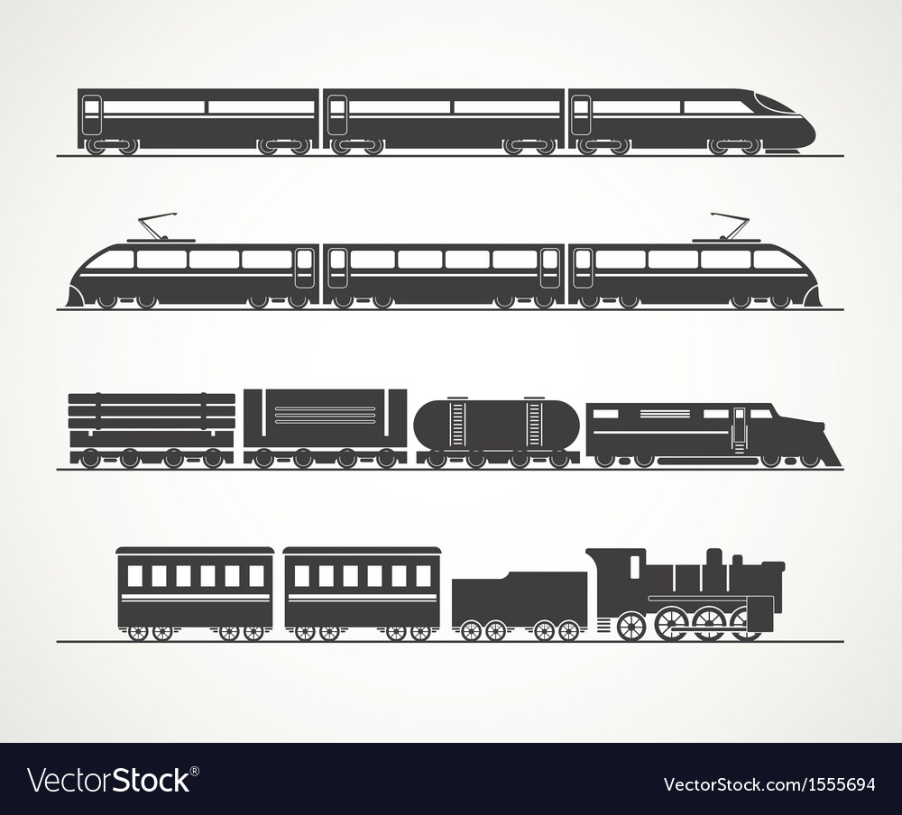 Modern and vintage train silhouette collection vector