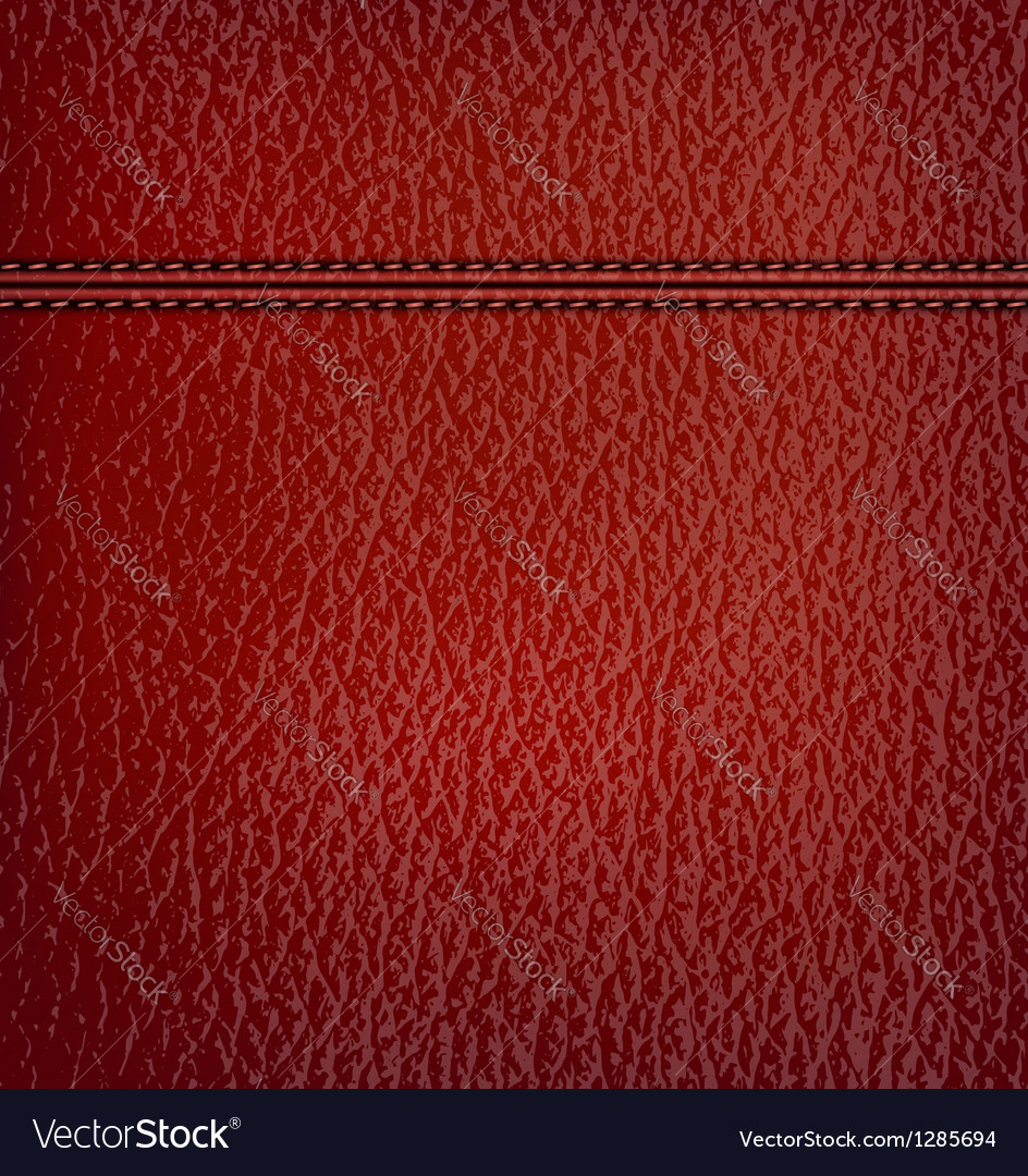 Red leather background with red leather strip vector
