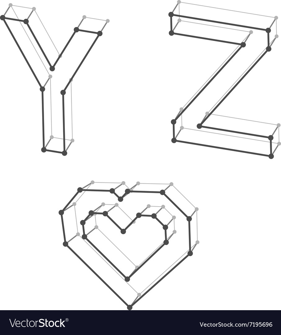 Wireframe font alphabet letters y z heart vector