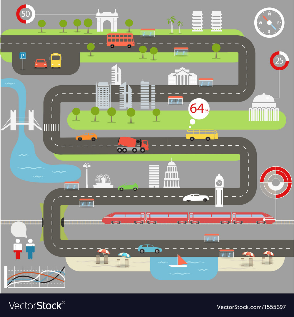 Abstract city map with infographic elements vector