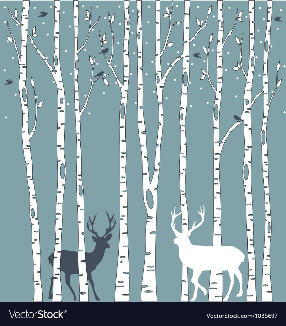 Birch trees with deers vector