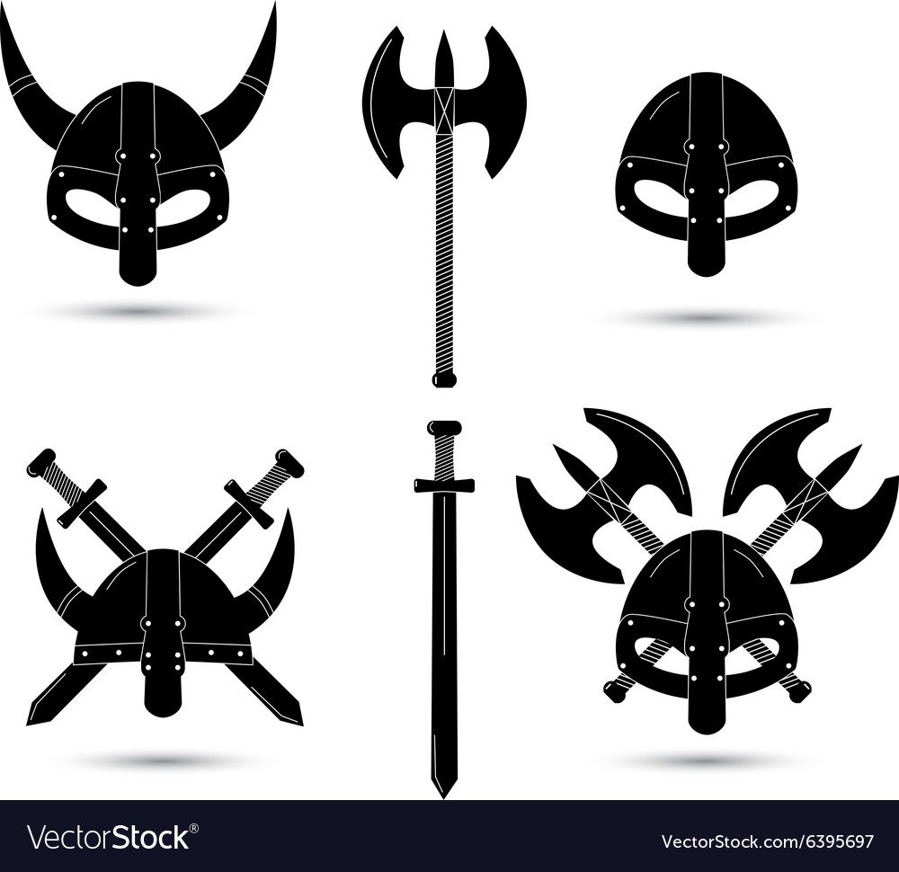 Set of monochrome viking elements isolated vector