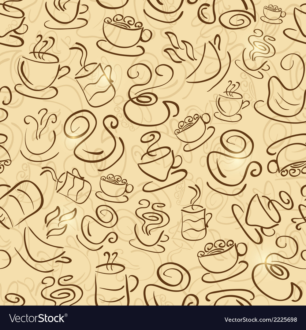 Brown seamless pattern with coffee and tea cups vector