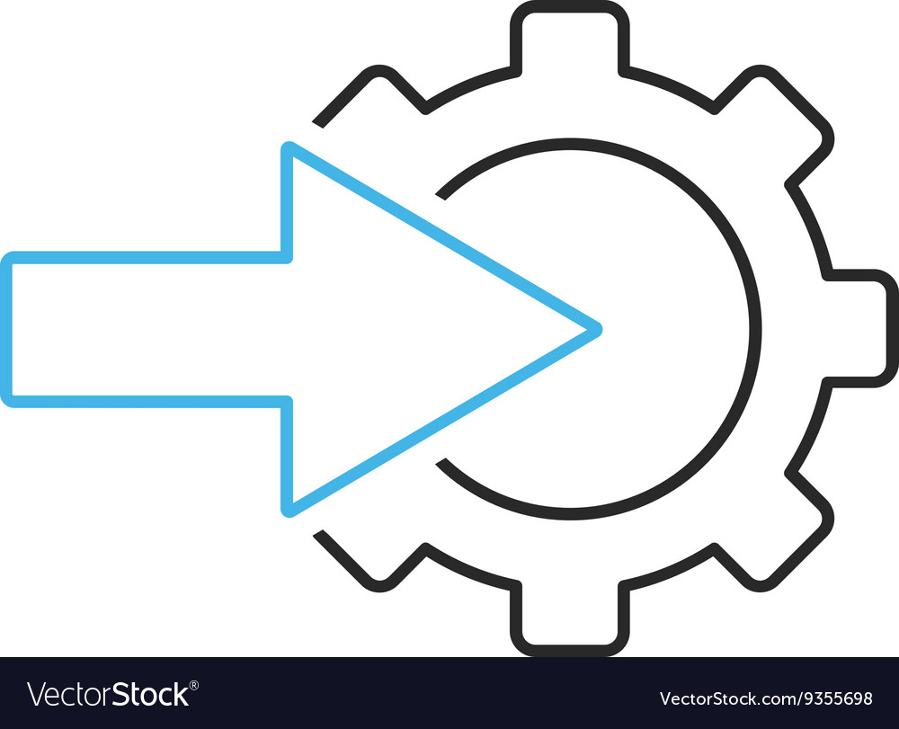 Cog integration outline icon vector