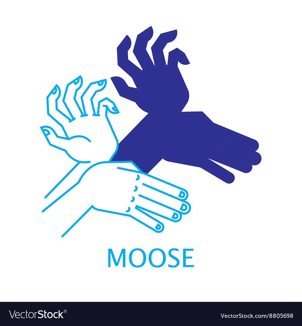 Shadow hand puppet moose vector