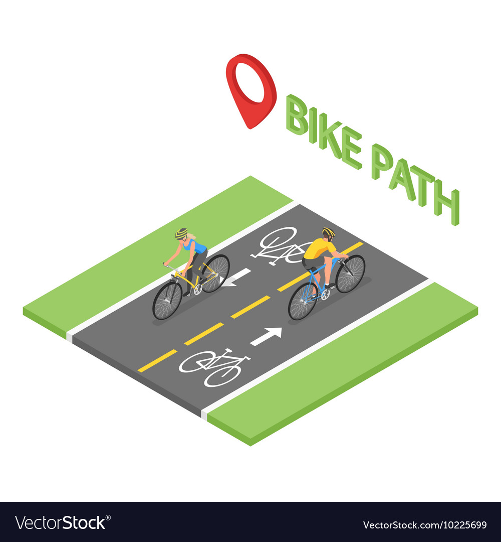 Isometric people on bicycle ride on the bicycle vector
