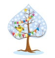 winter - tree and funny bird vector image vector image