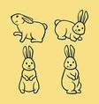 Rabbit Line Art vector image vector image