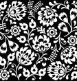 Polish folk art white pattern on black vector image vector image
