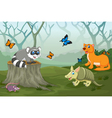 funny animal with deep forest landscape background vector image
