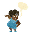 cartoon overweight woman with speech bubble vector image