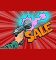 sale inscription science fiction shot of a blaster vector image