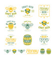 set of honey beer labels and badges vector image