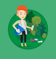 woman collecting garbage in forest vector image