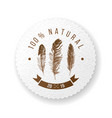 round paper emblem with feathers and type design vector image vector image
