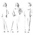 cute cartoon girls models sketch fashion vector image