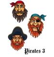 Cartoon fierce pirates set vector image