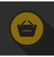 dark gray and yellow icon - shopping basket cancel vector image