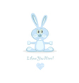 blue love rabbit vector image vector image
