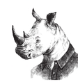 Hand drawn dressed up rhino in hipster style vector image