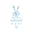 blue love rabbit vector image