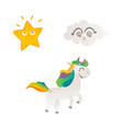 cartoon unicorn character isolated vector image