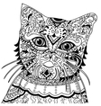 cat head with vintage ornate vector image